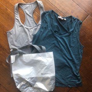Athleta tank top bundle grey teal silver bag S